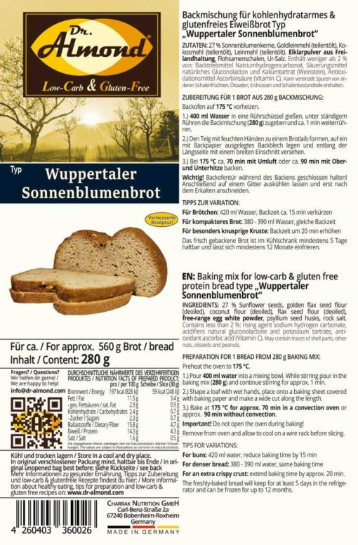 low carb gluten free bread mix wuppertaler sunflower paleo keto