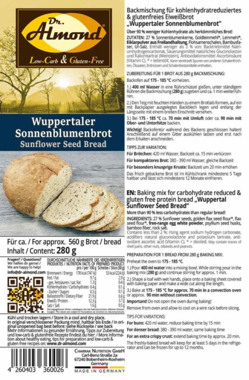 Wuppertaler Sunflower Seed Bread low carb gluten free paleo protein bread mix