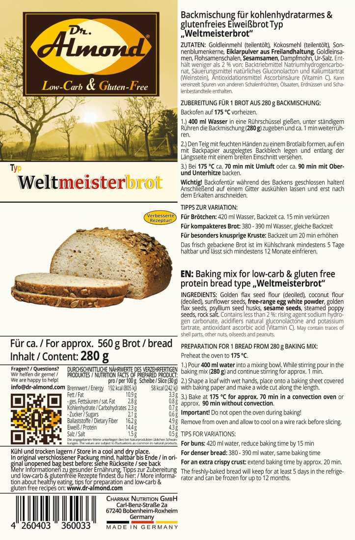 Weltmeister Champions Bread Baking mix low carb gluten ...