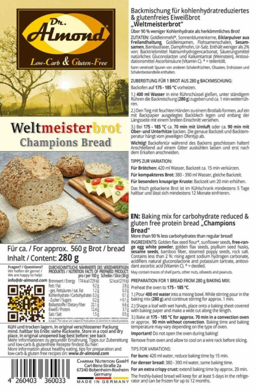 Weltmeister Champions Bread Baking mix low carb gluten free paleo protein bread mix