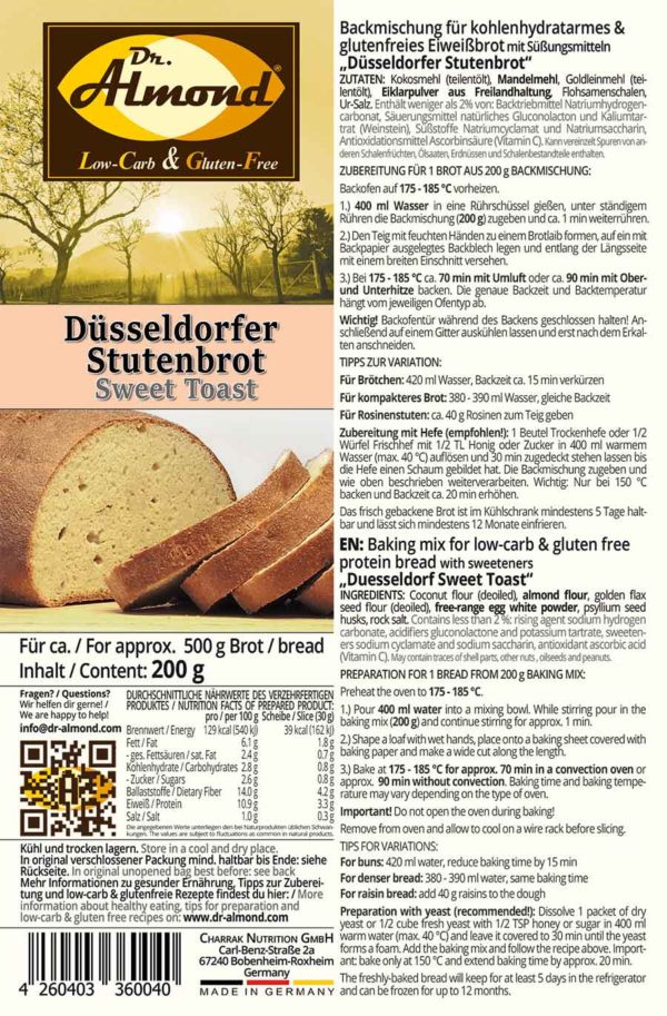 Duesseldorfer Sweet Toast low carb gluten free protein bread & bun mix