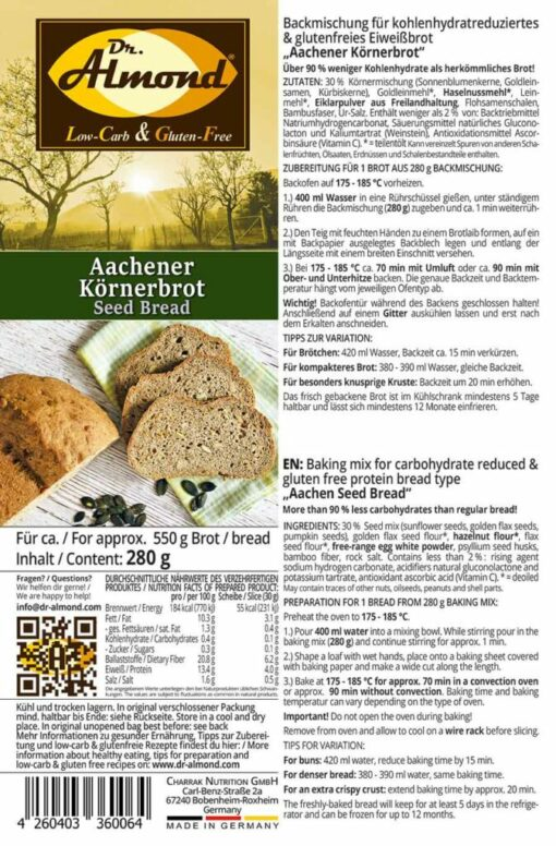 Aachener Seed Bread low carb gluten free paleo protein bread mix