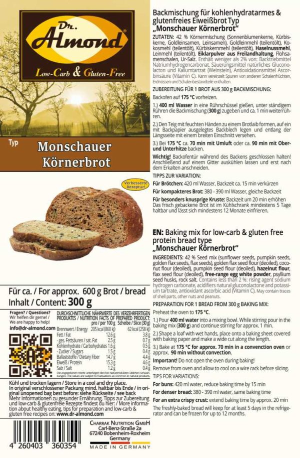 Monschauer low carb gluten free protein bread mix paleo soy free