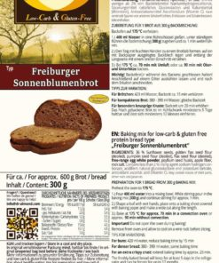 Freiburger Sunflower Seed Bread low carb gluten free keto paleo protein bread mix nut free soy free