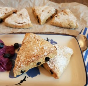 Recipe Blueberry-Lemon Scones with Blueberry Cream Cheese low-carb gluten-free keto