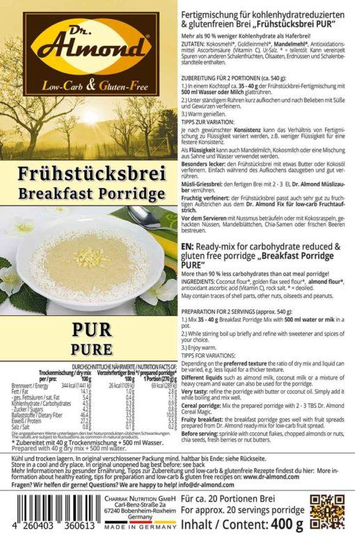 Breakfast porridge low carb glutenfree vegan PUR 400 g