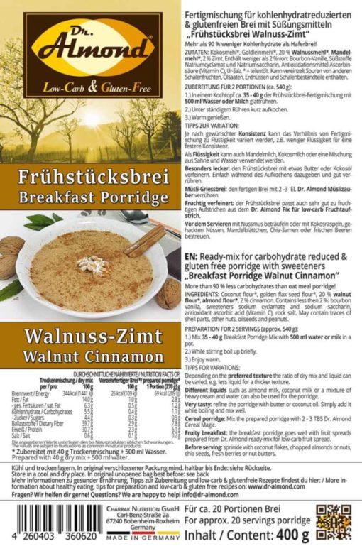 Breakfast porridge low carb glutenfree vegan WALNUT CINNAMON 400 g