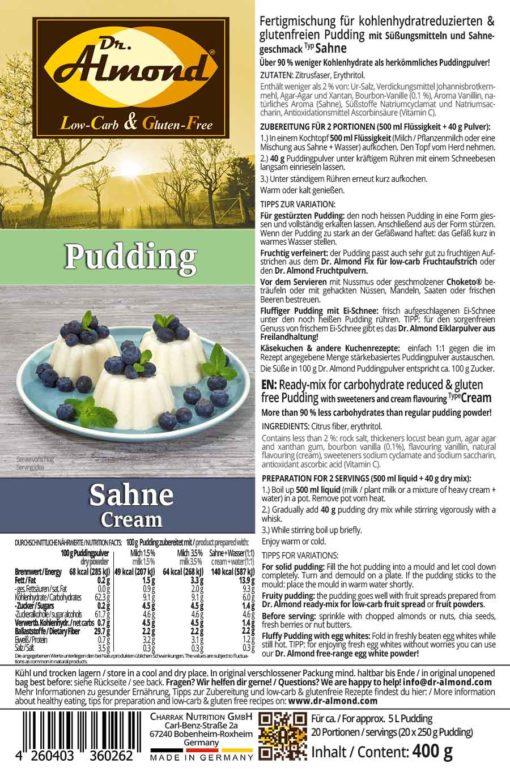 Pudding CREAM low carb glutenfrei keto - Pudding powder sugar free